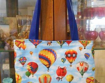 Hot Air Balloon Tote Bag Flying Sky Festival Fun Book or Lunch Bag Handmade Purse