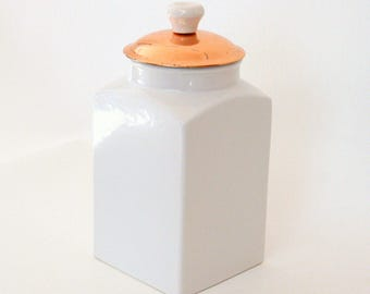 White Ceramic Kitchen Canister Or Cookie Jar With Removable Copper Lid With  White Knob Handle