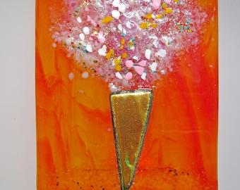 Handmade fused glass night light-Frit Bouquet Series, nite lite, night light, local, maker, lighting, art, hand crafted, gift, san francisco