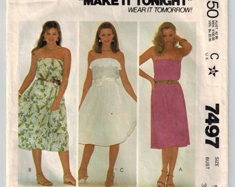 Vintage 80s Dress Sewing Pattern Bust 31 Pullover Dress Flared Skirt Strapless or Spaghetti Straps Ruffle Hem Summer Beach Dress Cover Up