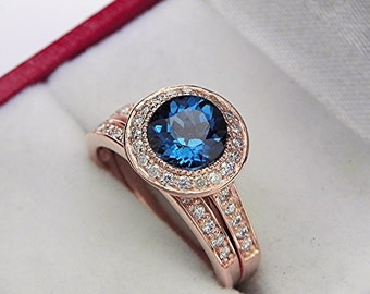 AAAA London Blue Topaz Double Blue 7.0mm  1.56 Carats   14K Rose gold bridal set with .35cts of diamonds. 0506