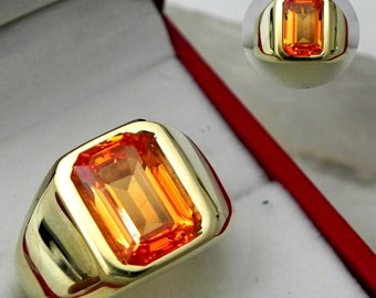AAAAA Orange Spessartite Garnet with GIA Cert 10x7mm  3.66 Carats   Heavy 14K Yellow gold Emerald cut Mans  ring 15-16 grams 1764a
