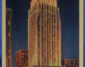 Gulf Building Night Houston Texas 1932 Unused Linen Postcard