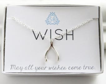 Wishbone Necklace • Good Luck Charm • Amulet • Lucky Charm Gift • Graduation Gift • Wishbone Charm • Silver Wishbone • Make A Wish  • W01