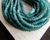 green teal matte seed glass beads, small transparent Irregular spacer, barrel tube, new  Indo-pacific  3 to 4.5mm dia / 26 in strand,7ab65-3