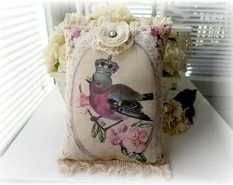 Shabby Vintage Inspired French  Crowned Bird & Roses Decorative Accent Pillow