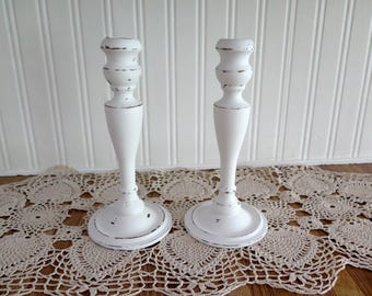 Wooden Candlesticks - Pair of Hand Painted Shabby Farmhouse  Distressed White Wood Candle Stick Holder Set