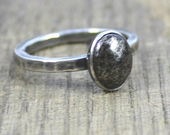 READY TO SHIP - Sterling Oval Pyrite Stacker Ring - Size 8.75