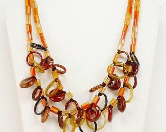 Boho Double Strand Statement Necklace Orange Glass Tube Beads Red Jasper Beads
