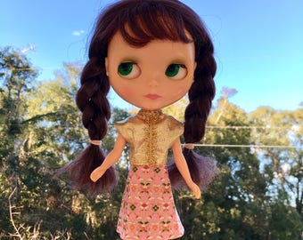 Super Fun Metallic Gold and Pink Floral Blythe Doll Party Skirt and Shirt/Blouse Set