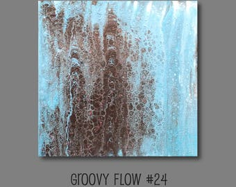 Groovy Abstract Acrylic Flow Painting #24 Ready to Hang 12x12