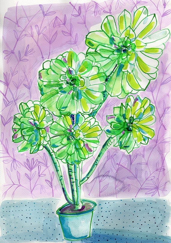 Dotty Vase Green Wall Art Print botanical illustration