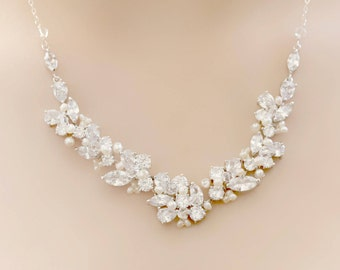 Bridal Silver Rhinestone, Freshwater Pearl, and Swarovski Crystal Wedding Necklace