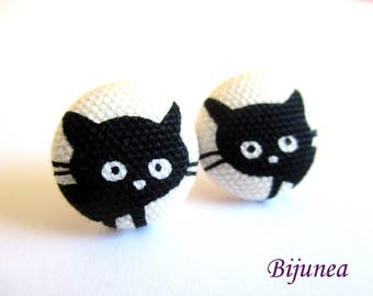 Cat earrings - Black cat stud earrings - Black cat studs - Cat posts -  Cat post earrings sf1370