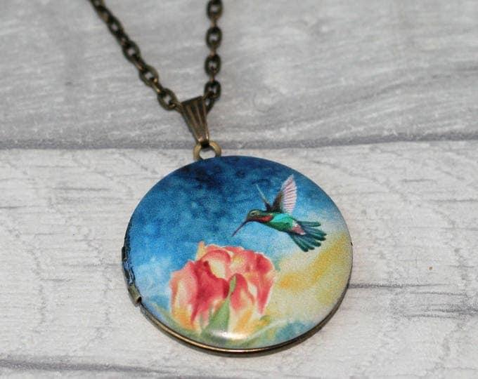 Hummingbird Locket Necklace, Bird Necklace, Bird Pendant, Pink Blossom Necklace
