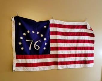 Vintage 76 Bicentennial 13 Star Cotton American Flag