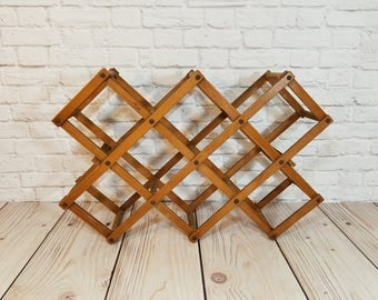 Vintage Wood Accordion Wine Rack