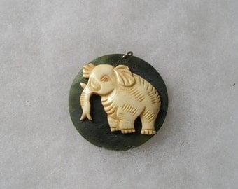Cute Vintage Chinese Jade & Carved Elephant Pendant