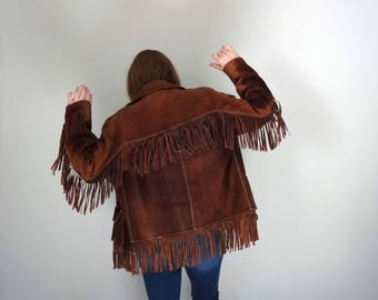 Vintage FRINGE LEATHER Jacket • 1970s Outerwear • Dark Brown Suede Western Wear Mountain Man Davy Crockett • Men Size 40 Women Medium Large