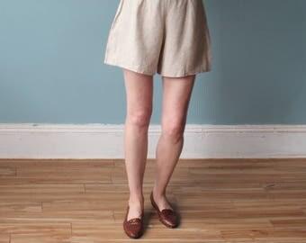 vintage natural tap shorts | linen shorts | 1990s small