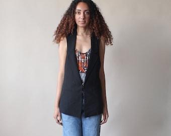 90s black vest | deep cut vest 1990s small