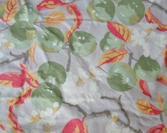Vintage Laura Ashley Orchard Cotton Fabric - Circular Tablecloth for Garden Table with Apples Blossom and Leaves