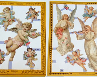 Victorian Angels and Cherubs Vintage Scraps - Two Sheets of Die-cut Scraps Ideal for Christmas Crafts