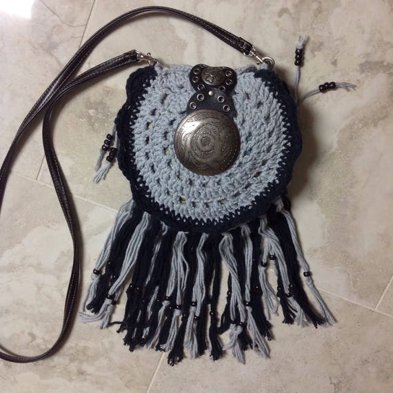 Crochet small boho hippie fringed crossbody shoulder bag
