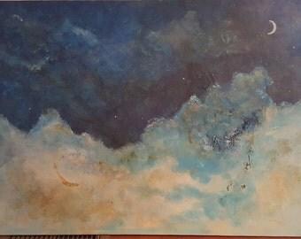 Moon & Stars VI painting by Estelle Carraz-Bernabei   24 x 36