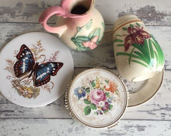 Floral Theme Box Lot - Broken China 3D Pieces Supplies -Hull Pottery Dresden Porcelain Handpainted Japan Shaker