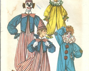 1970s Simplicity 7162 Vintage Sewing Pattern Clown Costume Boys and Girls Size 2-4, Size 6-8, Adult Size Small