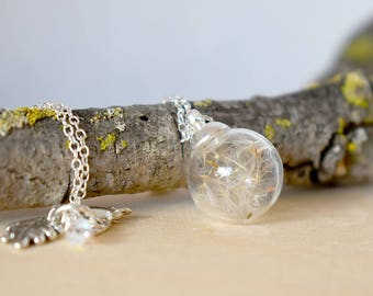Dandelion Wish Bubble Necklace   Small Glass Orb Dandelion Necklace   Real Dandelion Wishes Pendant   Whimsical Gift