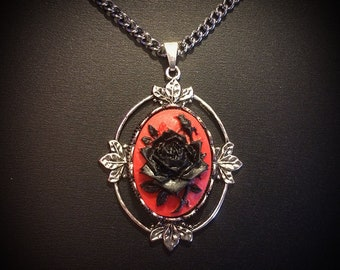 SALE Black and Red Rose Cameo Necklace