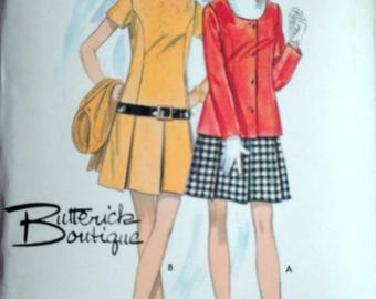 Vintage 60's Butterick Boutique 5471 Sewing Pattern, Misses One-Piece Dress And Jacket, Size 12, 34 Bust, Retro Mod 1960's Fashion