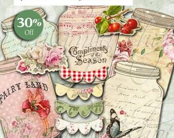 SALE VINTAGE JARS Collage Digital Images -printable download file Scrapbook Printable Sheet