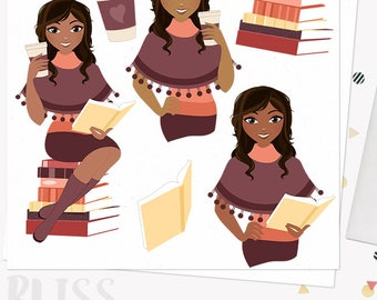 Autumn woman coffee character clipart, book club reading, fall poncho, boho style, java to go cup, african american dark skin (Bliss L286)
