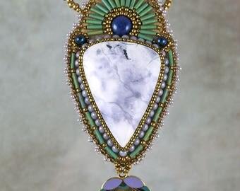 Necklace, beaded, bead embroidery, tiffany stone, lapis, purple, teal,  Bead Embroidered Necklace