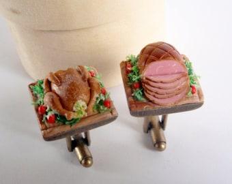 Stuffed Turkey and Ham Cufflinks - Thanksgiving Christmas Miniature Food Jewelry Collectable - Schickie Mickie Original Miniatures