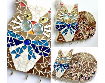 Mosaic Cat Art, Mosaic Cat Wall Hook, Cat Key Hook Organizer, Mosaic Cat Wall Decor, Cat Wall Hooks, Cat Room Decor, Mosaic Cat Jewelry Hook