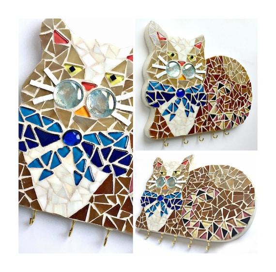 Mosaic Cat Art, Mosaic Cat Wall Hook, Cat Key Hook Organizer, Mosaic Cat Wall Decor, Cat Wall Hooks, Cat Room Decor, Mosaic Cat Jewelry Hook