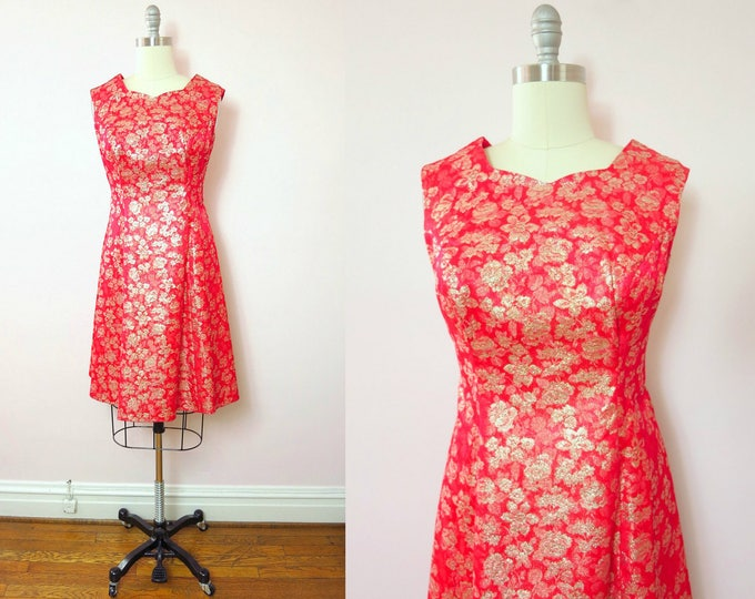 1960s Red & Gold Satin Brocade Cocktail Holiday Party Dress XL