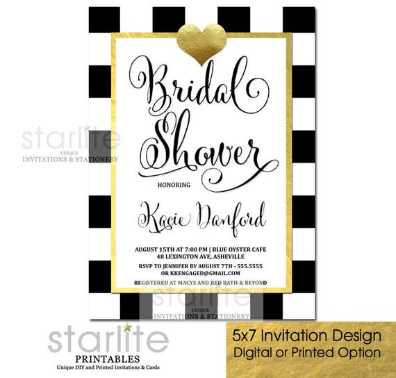 Black and gold bridal shower invitation bridal shower invitation il570xn filmwisefo