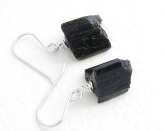 Rough Black Tourmaline Earrings, Raw Natural Crystal Jewelry, Ebony Earrings