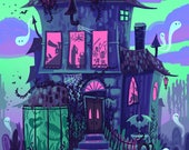 Haunted House Neon Monster Party Nights 8x12 art print