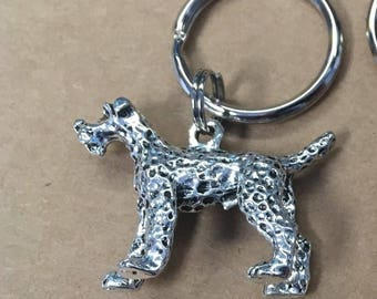 Dog Keychain, Metal Dog Charm Keychain, Fox Terrier Keychain