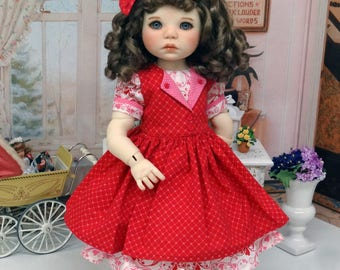 Sweet Love - Valentine dress and pinafore for American Girl doll with shoes