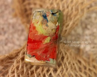 Red and Green, Statement Ring, Made from Recycled Paint, Cocktail Ring, Art Jewerly, Art Ring, Artskrap, Costume Jewelry, Bold, Unique,