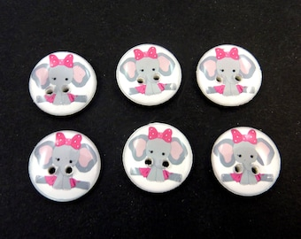 6 Elephant Buttons. Grey and Pink Elephant Handmade Sewing Buttons.   Cute Handmade Novelty Buttons For Sewing.