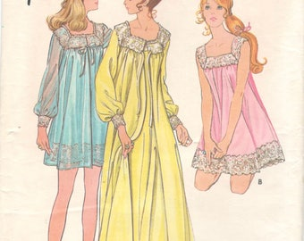 Butterick 5938 1970s Misses Nightgown and Robe Pattern Lacy Square Neckline Negligee Womens Vintage Sewing Pattern Size Medium Bust 34 36
