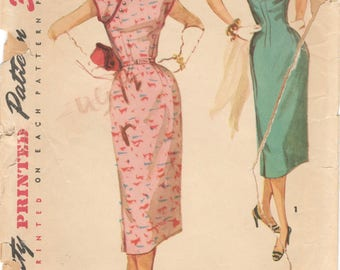 1950s Simplicity 1018 Misses Cheongsam Oriental Sheath Dress Pattern Womens Vintage Sewing Pattern Size 12 Bust 30